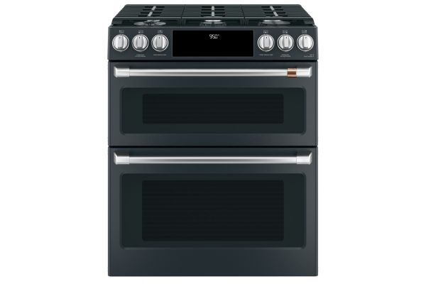 "Large image of Cafe 30"" Matte Black Slide-In Double Oven Dual-Fuel Range With Convection - C2S950P3MD1"