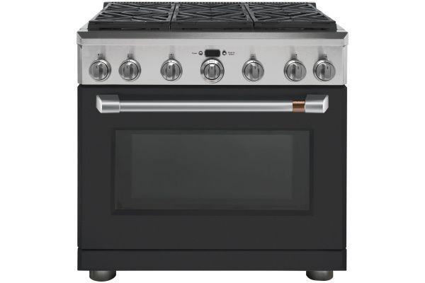 "Large image of Cafe 36"" Matte Black Dual Fuel Professional Range - C2Y366P3MD1"