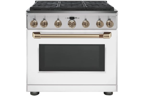 """Large image of Cafe 36"""" Matte White With Brushed Bronze Dual Fuel Professional Range - C2Y366P4MW2"""