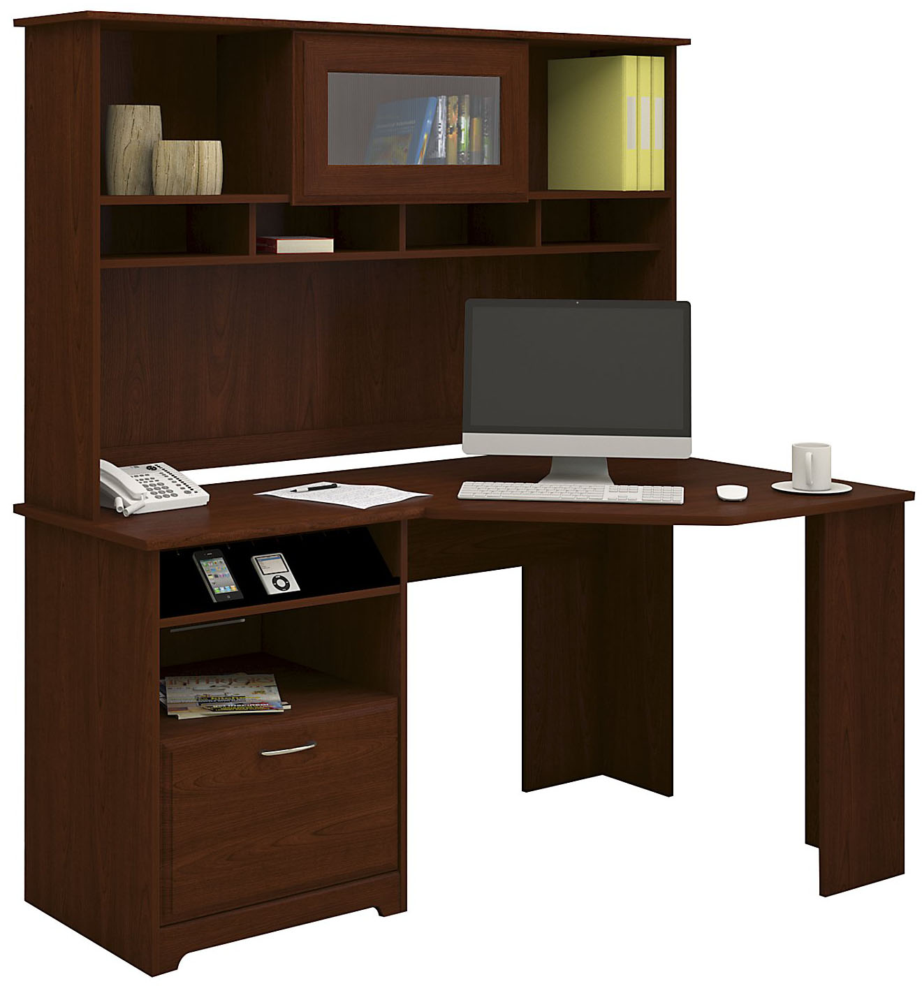 Bush Furniture Cherry Corner Desk With Hutch Cab008hvc