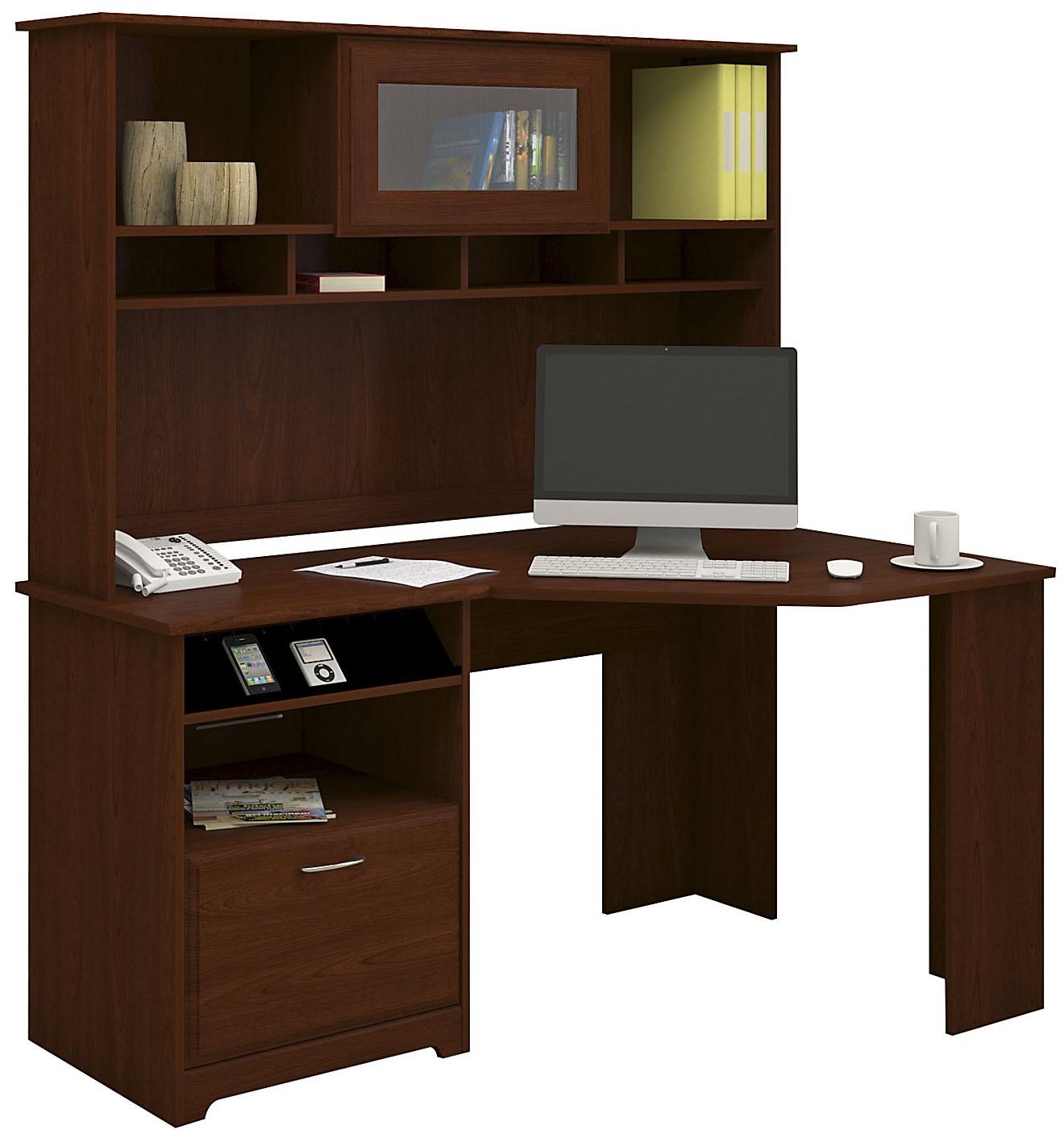 Bush Furniture Cabot Collection Harvest Cherry Corner Desk With Hutch Cab008hvc