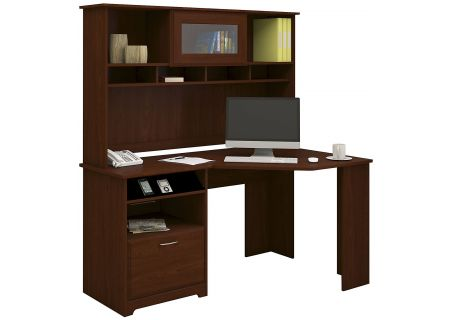 Bush Furniture Cabot Collection Harvest Cherry Corner Desk With Hutch  - CAB008HVC