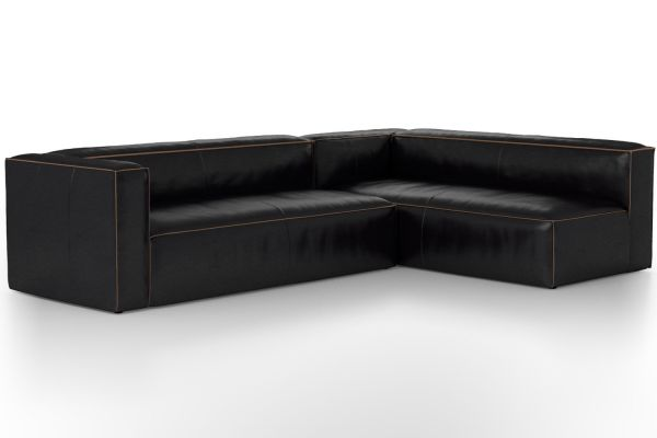 Large image of Four Hands Carnegie Collection Nolita Sectional Left Old Saddle Black Kit - CCAR-VL-OSB