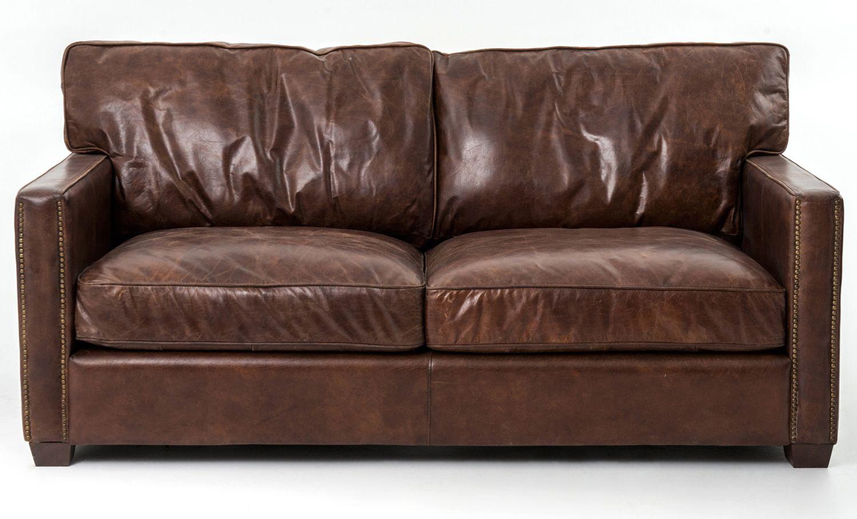 Four Hands 72 Cigar Brown Leather Larkin Sofa Ccar 24