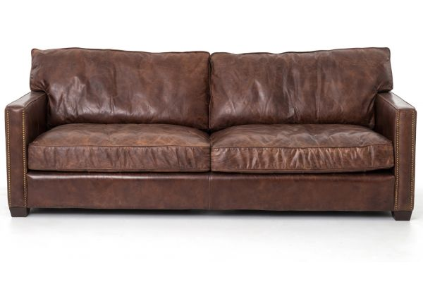 """Large image of Four Hands Carnegie Collection 88"""" Cigar Brown Leather Larkin Sofa  - CCAR-25"""