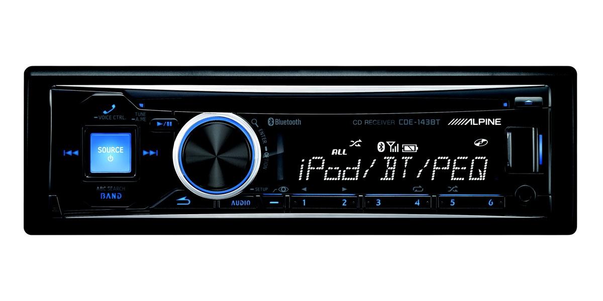 Car Stereo Bluetooth: Alpine Single DIN Bluetooth Car Stereo Receiver CDE-143BT