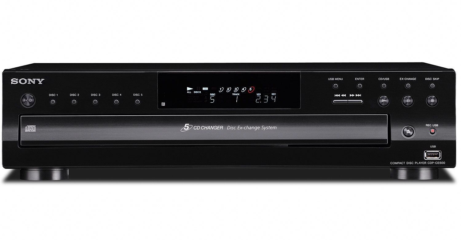 Sony Black 5 Disc CD Changer CDP CE500 Abt