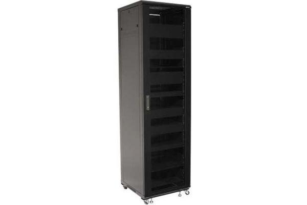 """Large image of Sanus 85"""" Tall Black AV Home Theater Equipment Rack - CFR2144-B1"""