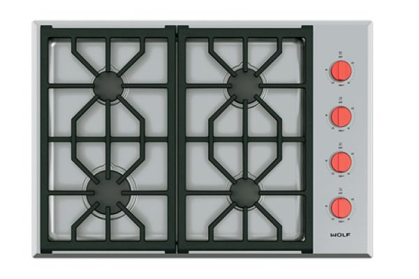 """Large image of Wolf 30"""" Stainless Steel Professional Gas Cooktop - CG304P/S"""