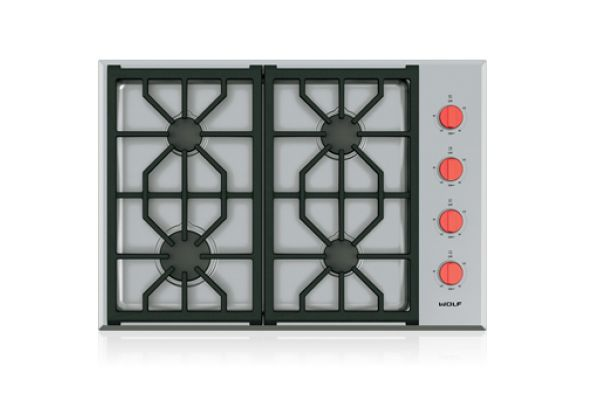 """Large image of Wolf 30"""" Stainless Steel Professional LP Gas Cooktop  - CG304P/S/LP"""