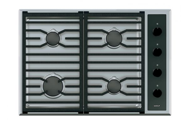 """Large image of Wolf 30"""" Stainless Steel Transitional Gas Cooktop - CG304T/S"""
