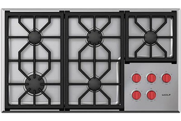 "Wolf Professional 36"" Stainless Steel Gas Cooktop - CG365PS"
