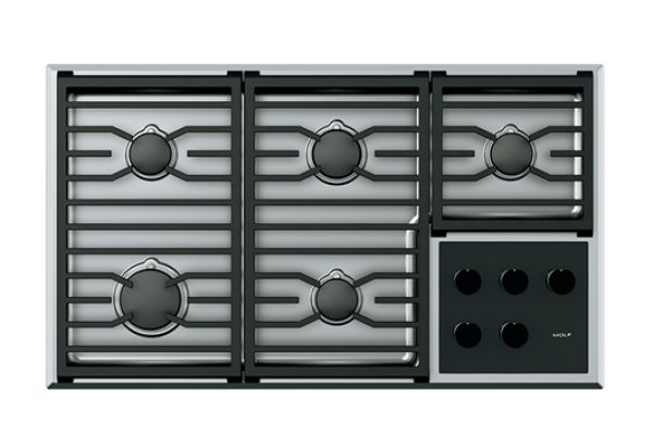 """Large image of Wolf 36"""" Stainless Steel Transitional Gas Cooktop  - CG365T/S"""