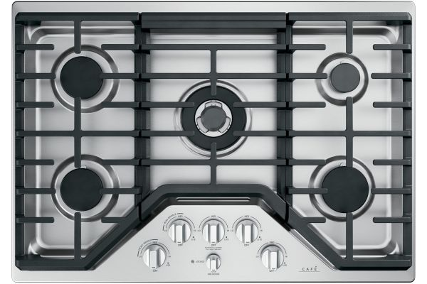 """Large image of Cafe 30"""" Stainless Steel Gas Cooktop - CGP95302MS1"""