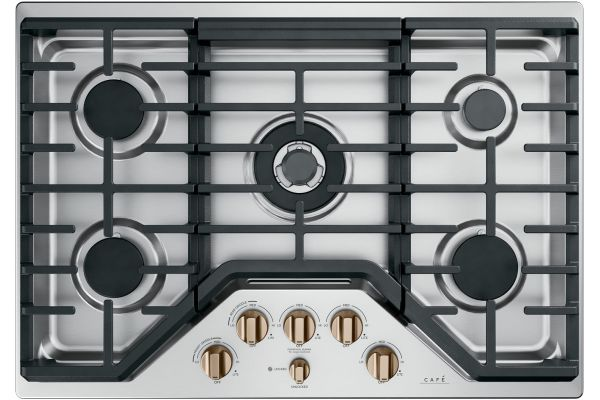 """Cafe 30"""" Stainless Steel With Brushed Bronze Gas Cooktop - CGP95303MS2"""