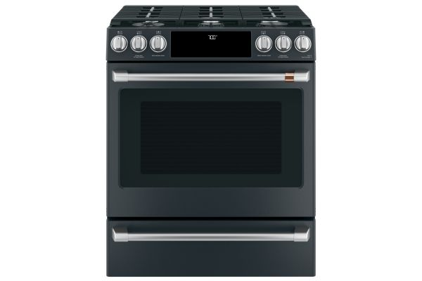 """Large image of Cafe 30"""" ADA Matte Black Slide-In Front Control Gas Convection Range - CGS700P3MD1"""
