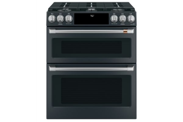 """Large image of Cafe 30"""" Matte Black Smart Slide-In Double Oven Gas Range With Convection - CGS750P3MD1"""