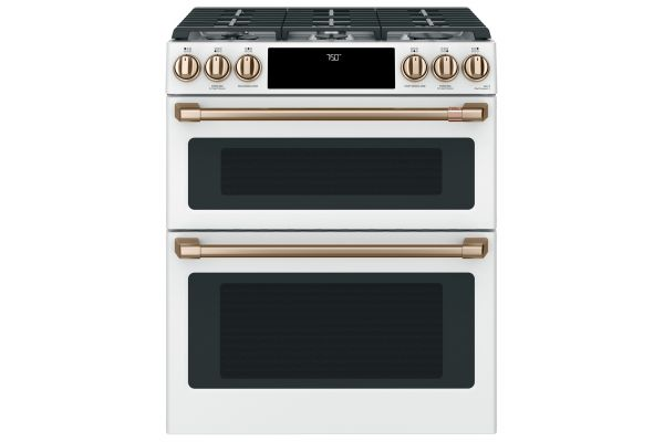 """Large image of Cafe 30"""" Matte White With Brushed Bronze Smart Slide-In Double Oven Gas Range With Convection - CGS750P4MW2"""