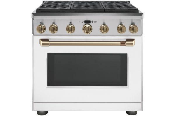 """Cafe 36"""" Matte White With Brushed Bronze Professional Gas Range - CGY366P4MW2"""