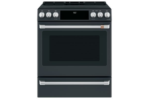 """Large image of Cafe 30"""" Matte Black Slide-In Induction And Convection Range With Warming Drawer - CHS900P3MD1"""
