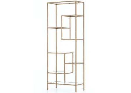 "Four Hands Irondale Collection 83"" Helena Brass Bookshelf - CIRD-5842"
