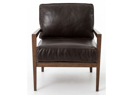 Four Hands Kensington Collection Dark Brown Leather Laurent Accent Chair  - CKEN-B6X-367