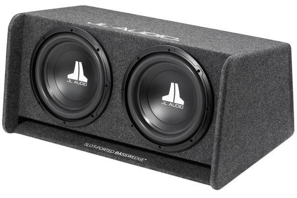 "Large image of JL Audio 12"" 12W0V3 BassWedge Ported Dual Subwoofer Enclosure - 93283"
