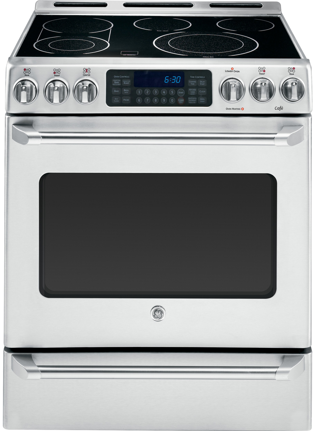 Ge cafe series 30 quot stainless steel slide in electric convection range