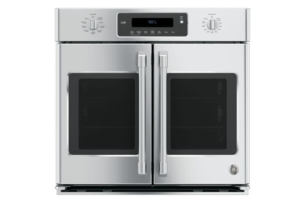 """GE Cafe Series 30"""" Stainless Steel Built-In  French-Door Single Convection Wall Oven - CT9070SHSS"""
