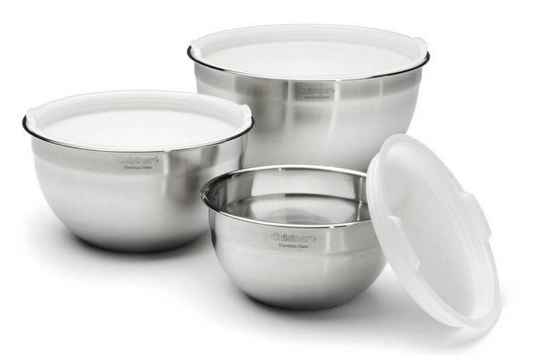 Large image of Cuisinart 3-Piece Stainless Steel Mixing Bowl Set - CTG-00-SMB