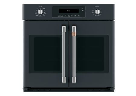 "Cafe 30"" Matte Black Built-In French-Door Single Convection Wall Oven - CTS90FP3MD1"