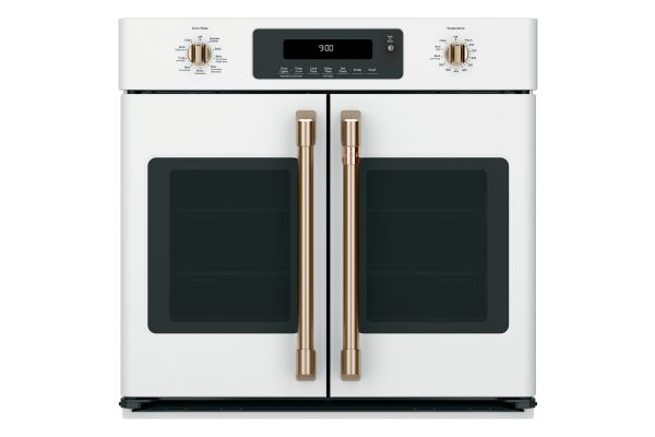 """Cafe 30"""" Matte White With Brushed Bronze Built-In French-Door Single Convection Wall Oven - CTS90FP4MW2"""