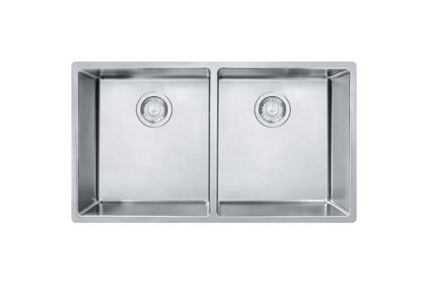 Large image of Franke Stainless Steel Cube Double Bowl Sink - CUX120