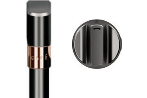 """Large image of Cafe 30"""" Brushed Black Handle & Knob Set For French Door Double Wall Oven - CXWDFHKPMBT"""