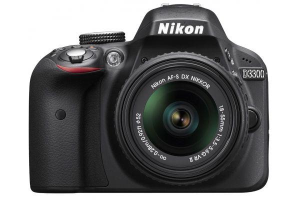 Large image of Nikon D3300 Black Digital SLR Camera With 18-55mm VR Lens Kit - 1532