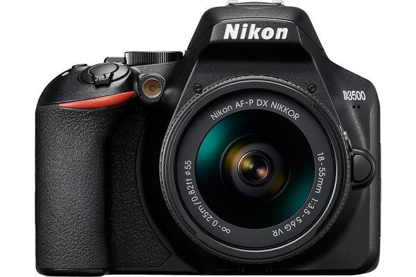 Large image of Nikon D3500 Black Digital SLR Camera With 18-55mm VR Lens Kit - 1590-N