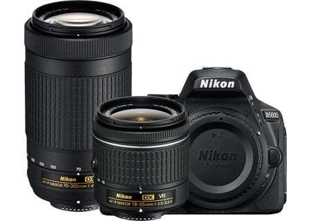 Nikon D5600 Black Digital SLR Camera Two Lens Kit - 1580
