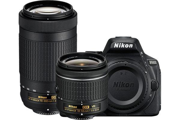 Large image of Nikon D5600 Black Digital SLR Camera Two Lens Kit - 1580