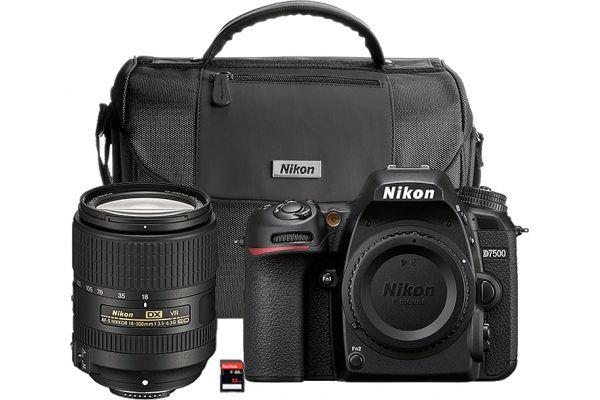 Large image of Nikon D7500 Black Digital SLR With 18-300mm VR Lens Kit - 13532