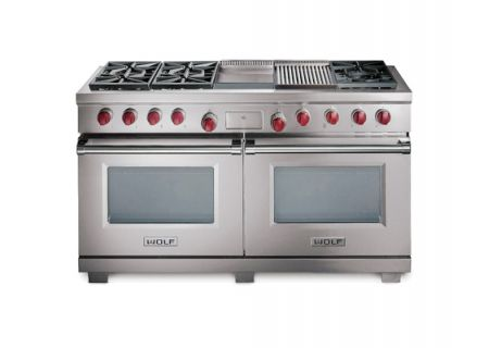 """Wolf 60"""" Dual Fuel Double Oven Range - Stainless Steel Finish - DF606CG"""