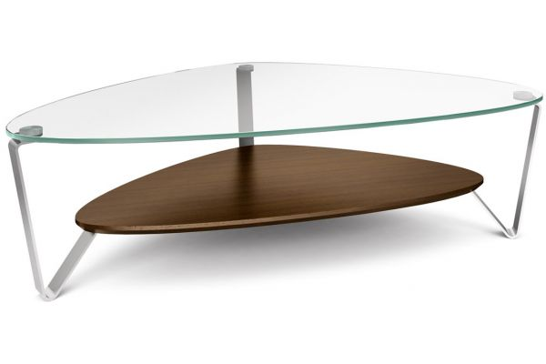 Large image of BDI Dino Large Chocolate Walnut Triangular Coffee Table - DINO1343CWL