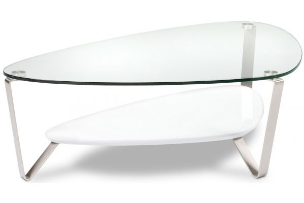 Large image of BDI Dino Large White Triangular Coffee Table - DINO1343W