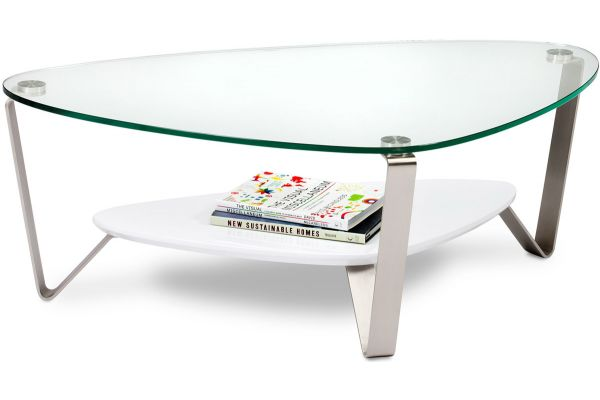 BDI Dino Small White Triangular Coffee Table - DINO1344W