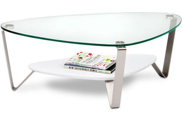 Large image of BDI Dino Small White Triangular Coffee Table - DINO1344W