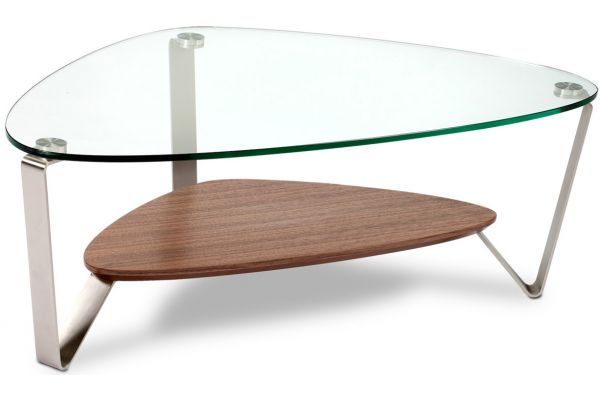 Large image of BDI Dino Small Natural Walnut Triangular Coffee Table - DINO1344WL