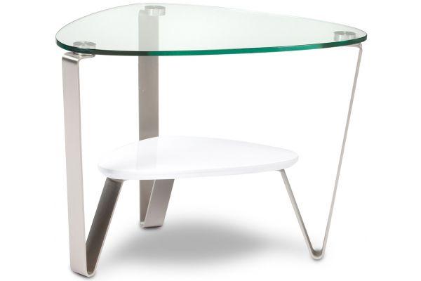 Large image of BDI Dino White Triangular End Table - DINO1347W