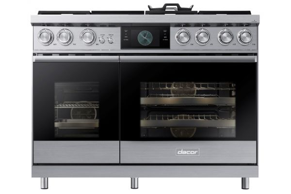 """Large image of Dacor Contemporary 48"""" Stainless Steel Dual-Fuel Natural Gas Steam Range - DOP48M96DLS"""