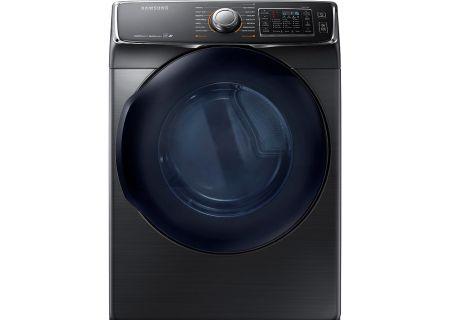 Samsung Fingerprint Resistant Black Stainless Steel Electric Steam Dryer - DV45K6500EV