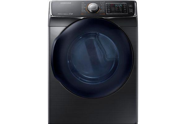 Samsung Fingerprint Resistant Black Stainless Steel Gas Steam Dryer - DV45K6500GV