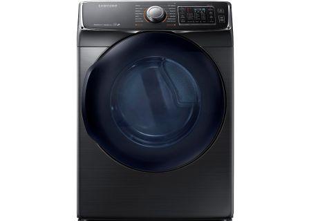 Samsung Fingerprint Resistant Black Stainless Steel Gas Steam Dryer - DV50K7500GV